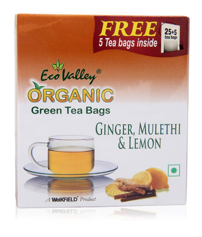 Organic Green Tea W/ Ginger, Mulethi & Lemon - 25 TBs - Eco Valley