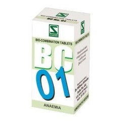 Buy 3 X Schwabe Homeopathy Bio Combination 01 for Anaemia.(pack of 3) online for USD 27.99 at alldesineeds