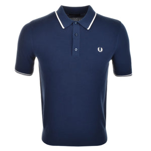 Fred Perry Polo T Shirt Tipped Knitted - Blue