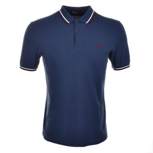 Fred Perry Polo T Shirt Twin Tipped - Blue