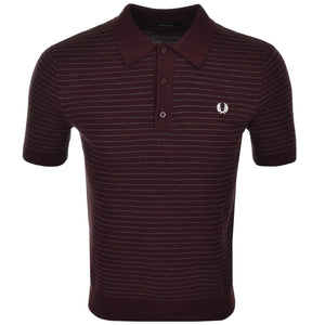 Fred Perry - Red - Textured Yarn Striped Polo