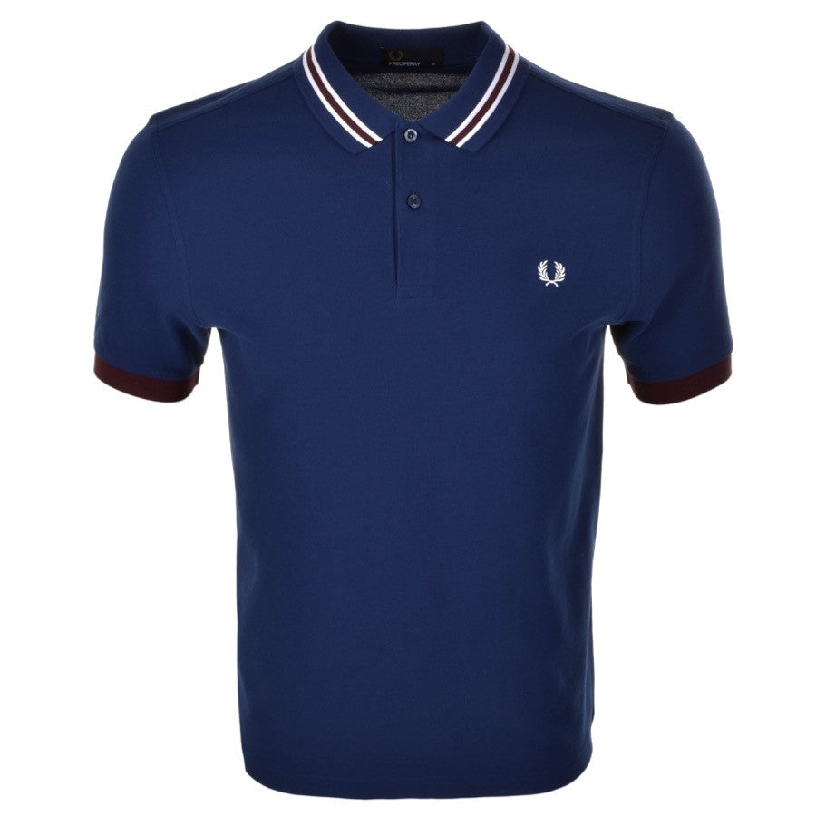 Fred Perry Polo T Shirt - Blue - Bomber Stripe Collar