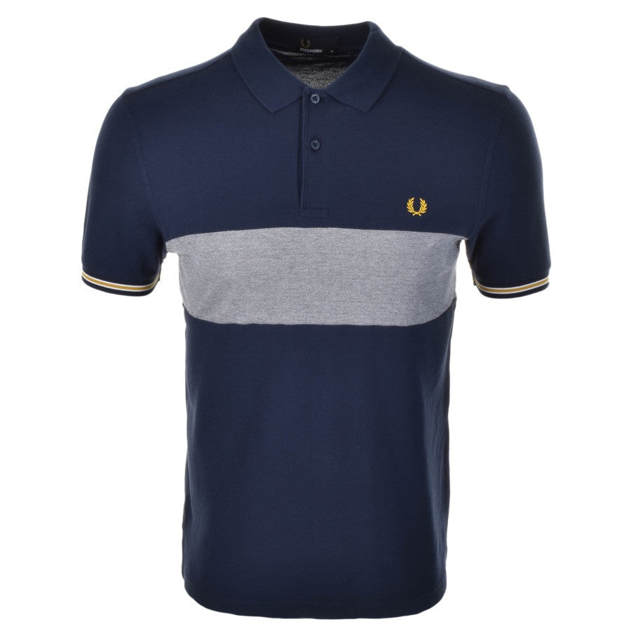 Fred Perry Polo T Shirt - Oxford Panel - Carbon Blue