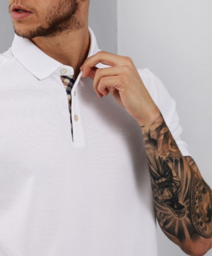Aquascutum Hillington Polo Shirt With Check Placket in White