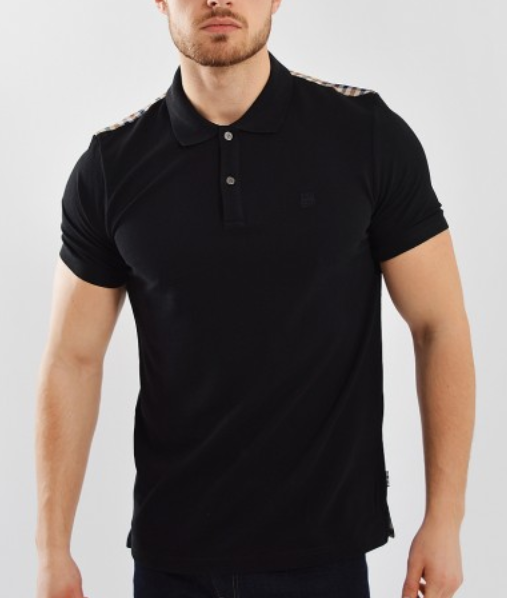 Aquascutum Hill Club Check Polo Shirt Black