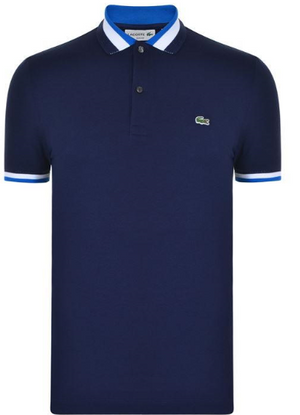 Lacoste SHORT SLEEVE STRIPE TRIM POLO SHIRT - Navy