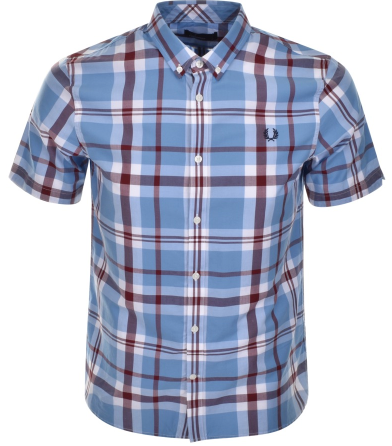 Fred Perry Classic Check Shirt Light Blue
