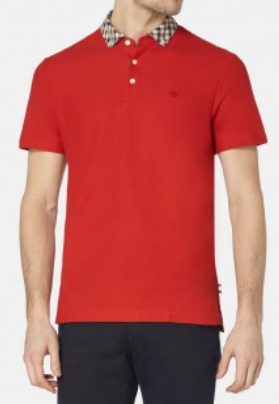 CONISTON CLUB CHECK COLLAR POLO - Red