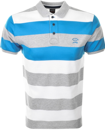 Paul & Shark Short Sleeved Striped Polo - Grey