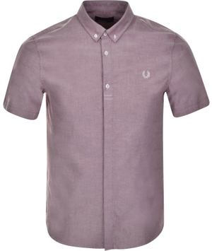 Fred Perry Retro Oxford Short Sleeve Shirt  Rosewood Red