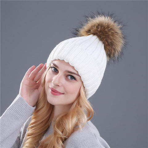 b376df6fef6 Xthree mink and fox fur ball cap pom poms winter hat for women girl  s hat  knitted beanies cap brand new thick female cap