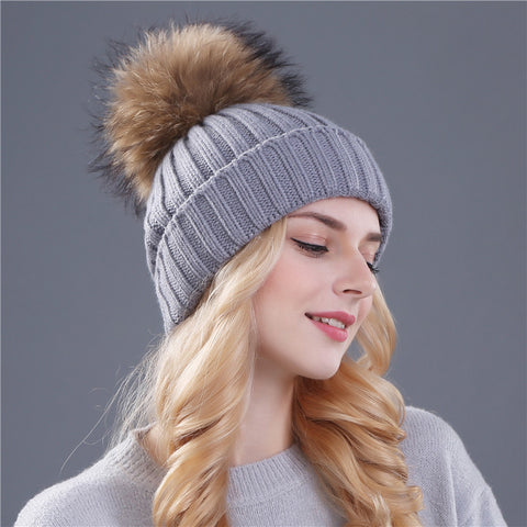 1671aff29f3 Xthree mink and fox fur ball cap pom poms winter hat for women girl  s hat  knitted beanies cap brand new thick female cap