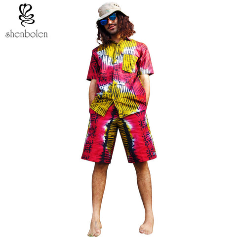 Spring summer 2016 African men s suits dashiki wax printed cotton short  sleeved jacket + pants casual 0cb088b2ef06