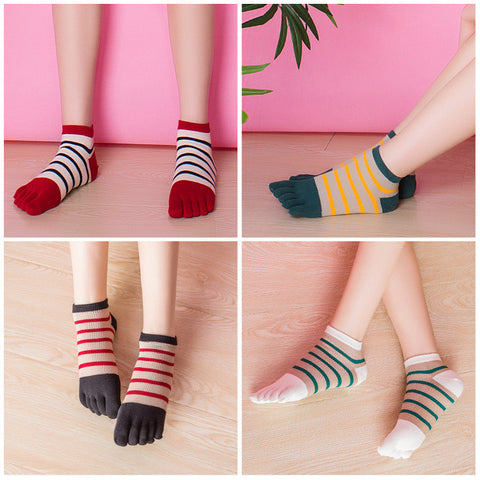 New Fashion Women Socks Stripe Patchwork Print Toes Socks Five Fingers Socks