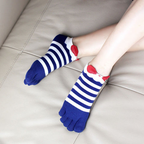 Summer Style Toe Socks Thin Cotton Women Toe Sock Bow Stripe Deodorant Ankle Calsetines Five Finger Summer Dress Boat Socks