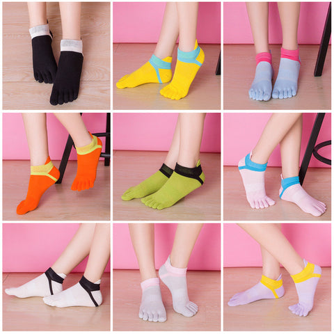 New Women Fashion Toe Socks Candy Colors Five Finger Socks Girls Socks