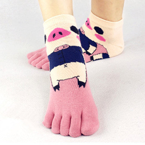 Summer Style Toe Socks Casual Thin Cotton Women Toe Sock Animal Dot Stars Breathable Ankle Five Finger Summer Dress Socks
