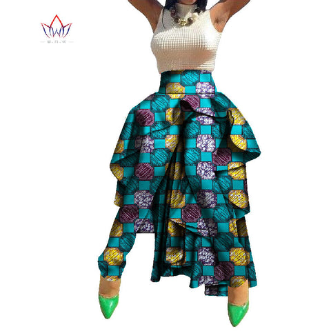 BRW African Print Pants Africa Style Traditional Clothing Bazin Riche Wax Print Dahiki Fabric for Women Plus Size Tuxedo WY758