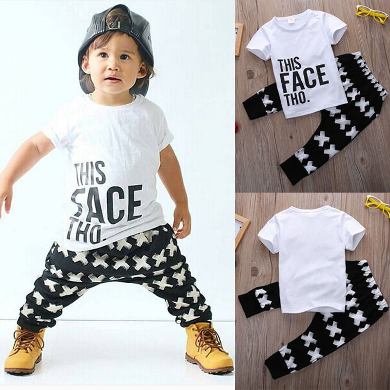 46ed891383c6b Buy Kid Cross Clothing Sets Toddler Kids Baby boy Summer Outfits Sports  Clothes Letter T-shirt Tops+Harem Pants 2pcs Set at ZuggaTea for only $22.15