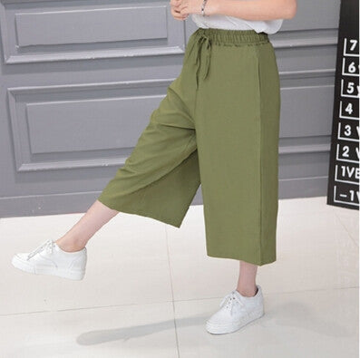 639a5316dc ... Women 2017 Summer Seven Pants Casual High Waist Elastic Wide Leg Pants  Chiffon Solid Fashion Trousers Plus Size XL 5 Color. Pants & Capris -  ZuggaTea