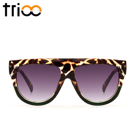 TRIOO Fashon Flat Top Ladies Sunglasses Oversized Tortoiseshell Color Shades Brown Gradient Lens Shadow Sun Glasses For Women