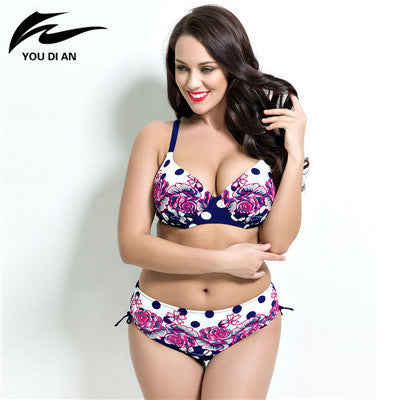sexy printed plus size bikini set women Bathing Suit Push up biquini women Super Large Cup Bikini set Women Swimwear beach wear