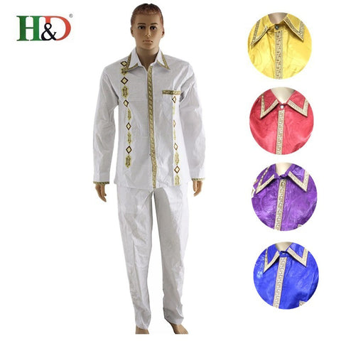 (Free shipping) New fashion African bazin pants  traditional African Bazin cotton cardigan clothing rich men KC39