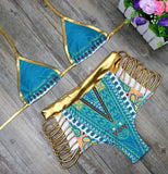 2017 New African Print Two-Pieces Bath Suits Bikini Set Sexy Geometric Swimwear Swimsuit Gold High Waist Swimming Suit 2378