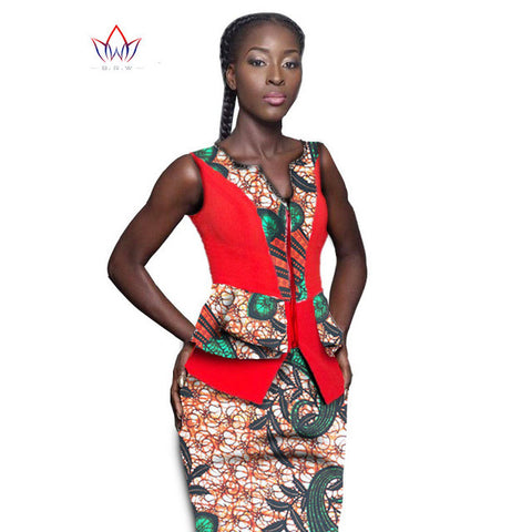 Pretty Women Suits New Fashion African  Printed Wax 2 Piece Set Women Crop Top And Skirt Set Fascinating dashiki sets WY1026