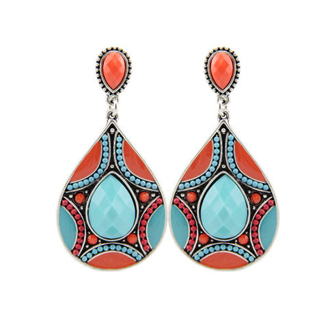 54db12a521 Brincos New Drop Earrings For Women Ethnic Vintage Silver Plated ...