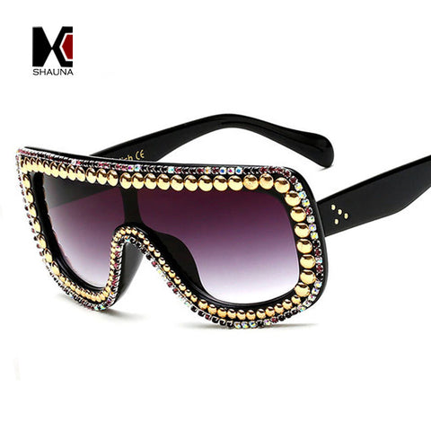 SHAUNA Fashion Women Crystal Decoration Conjoined Sunglasses Shining Rhinestones Rim Sun Glasses