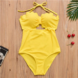 New Arrival One Piece Swimsuit Women High Waist Swimwear Sexy Halter Design High Quanlity Fabric Solid Bathing Suit Size M-XL