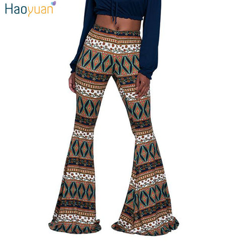 HAOYUAN Women Elastic Boot Cut Trousers 2017 Summer Casual High Waist Pants African Print Boho Slim Long Flare Wide Leg Pant