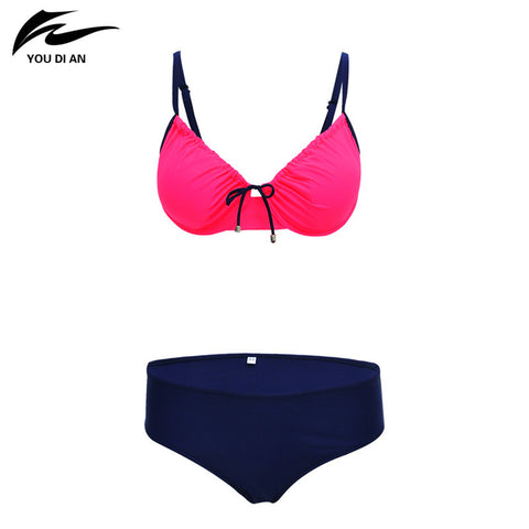 New Bikini Swimwear Women Sexy Push Up Large Size Swimsuit Swimwear Bandage Solid Top Bathing Suit Three Colors Available