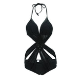 YOUDIAN One Piece Swimwear Women New Arrival  Solid Halter Swimsuit Breathable High Qaulity Push Up V Neck Bathing Suit