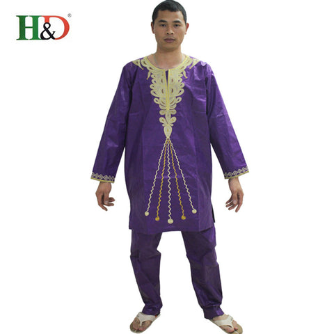 (free shipping)New fashion African Riche man Bazin traditional African cotton 100% sleeve clothing riche men  pants suit