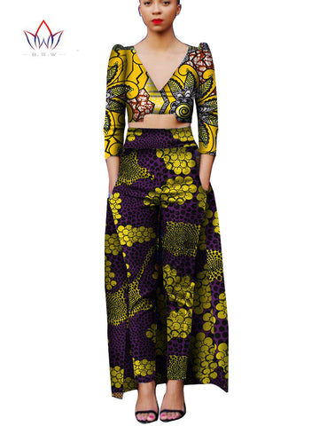 New 2017 Spring Women Clothing Set Vintage African Tribal Print  African Bazin Riche Top and Pants 2 Piece Set Plus Size WY846