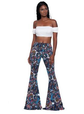 Yuerlian Pattern Printed Boho Flare Pants Women Floral Boot Cut Trousers 2017 Summer New Lady African Bell-bottomed Long Pants