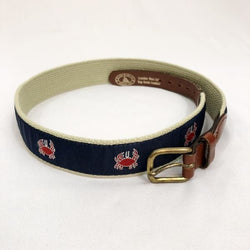 Leather Man Ltd - Boy's Belt Preppy Nautical with Crabs Size 28 - Made in USA