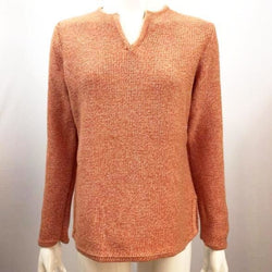 LL Bean - Women's Long Sleeve Knit Cotton Pull Over Sweater Size Small - Heather Orange