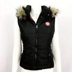Aeropostale - Women's Hooded Full Zip Vest with Fur Accent Size Large - Black