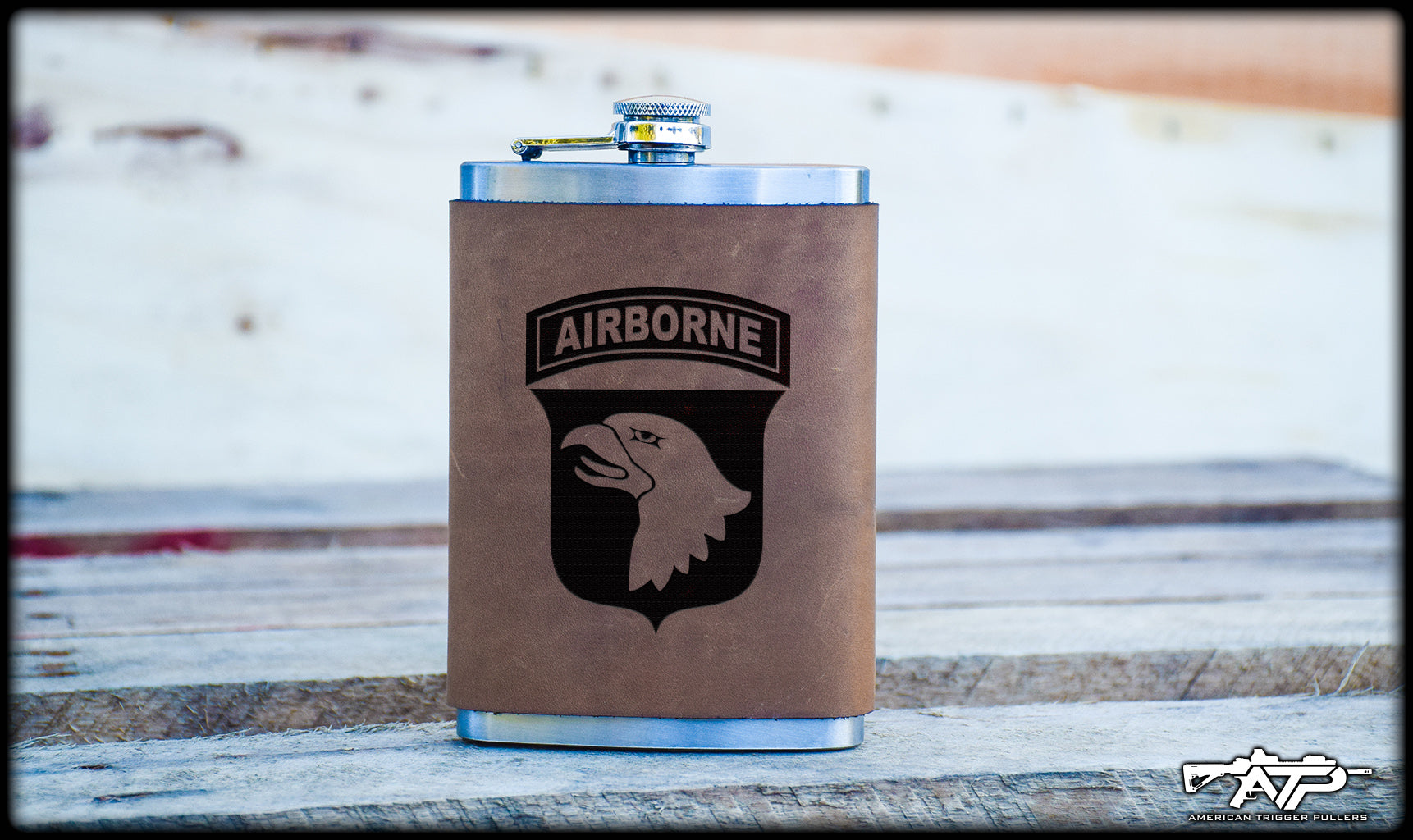 101st Airborne Leather Flask