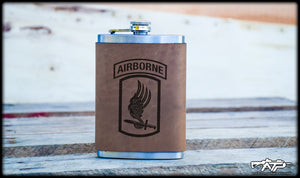 173RD Airborne Leather Flask