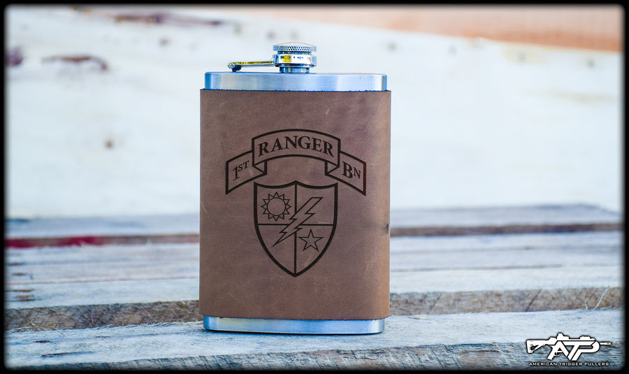 Ranger Scroll Leather Flask