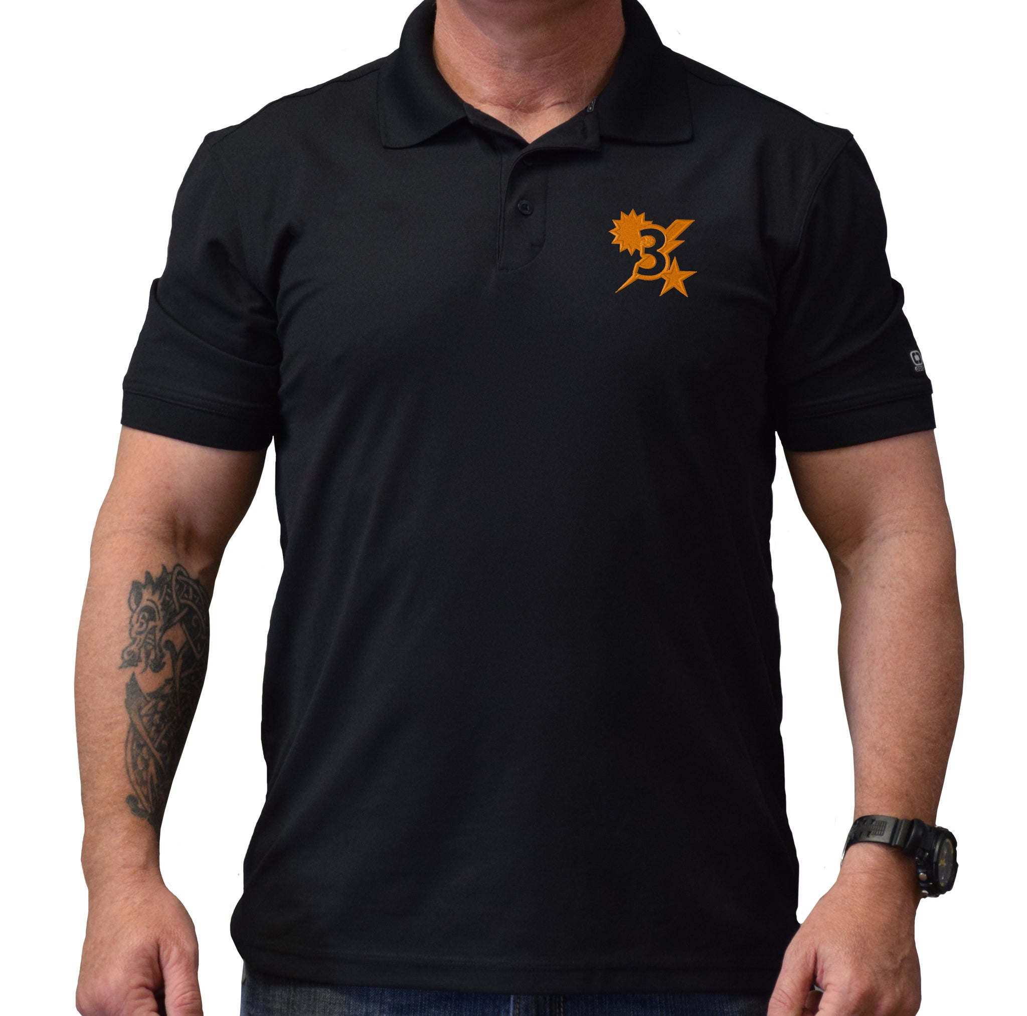 3D Batt Star Sun Bolt Polo