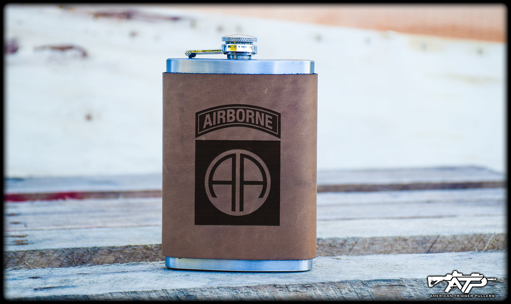 82nd Airborne Leather Flask