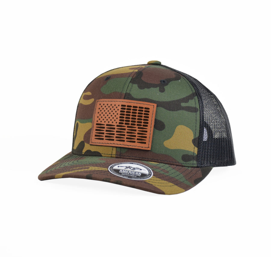 Bullet Flag Leather Snap-Back
