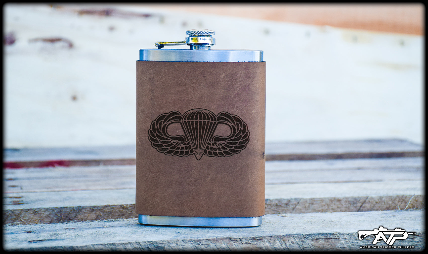 Airborne Wings Leather Flask