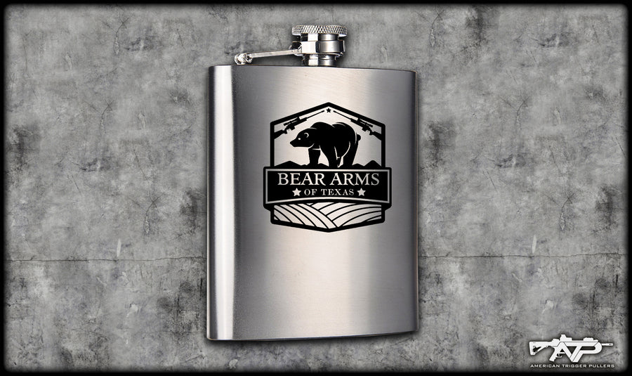 Bear Arms Logo Flask