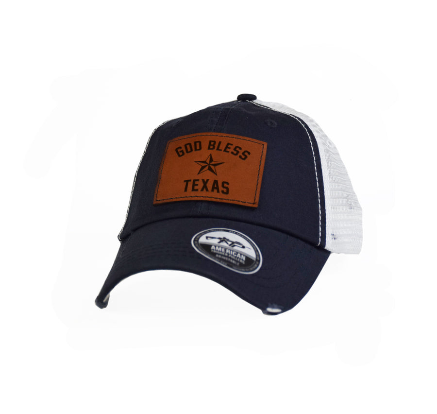 God Bless Texas Leather Dad Cap